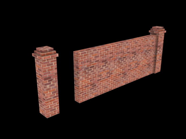 Brick fence low poly