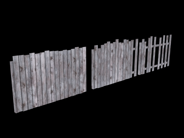 Wooden fence low poly