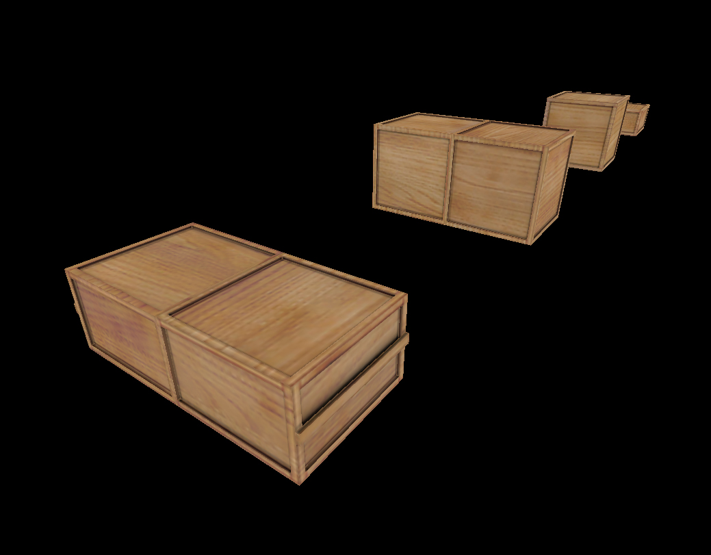 Different wooden boxes low poly