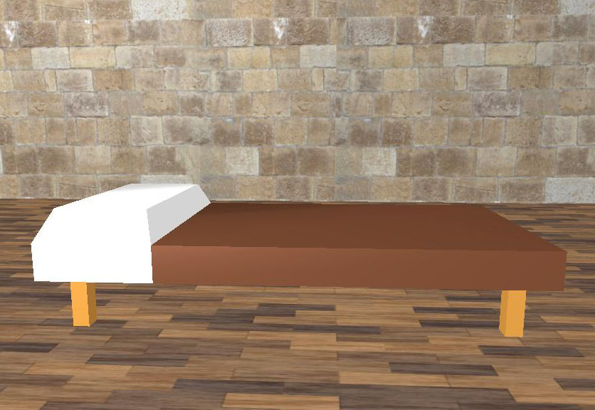 Brown Bed Low Poly