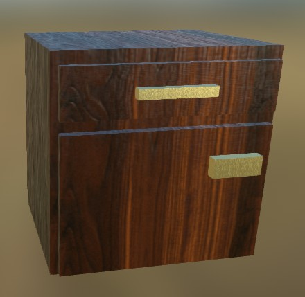 Small Cabinet LowPoly 2 (Dark Wood)
