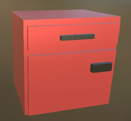 Small Cabinet LowPoly 5 Red