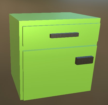 Small Cabinet LowPoly 7 Green
