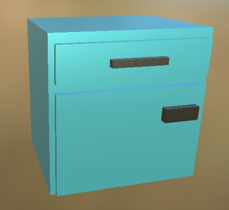 Small Cabinet LowPoly 8 Blue