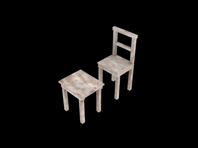 Chair Stool Low Poly